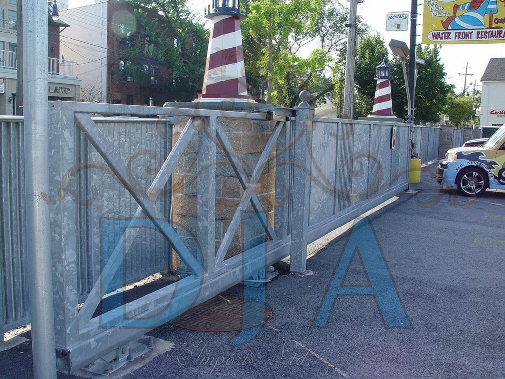 Cantilever gate with the attractive dull gray finish of hot-dipped galvanizing
