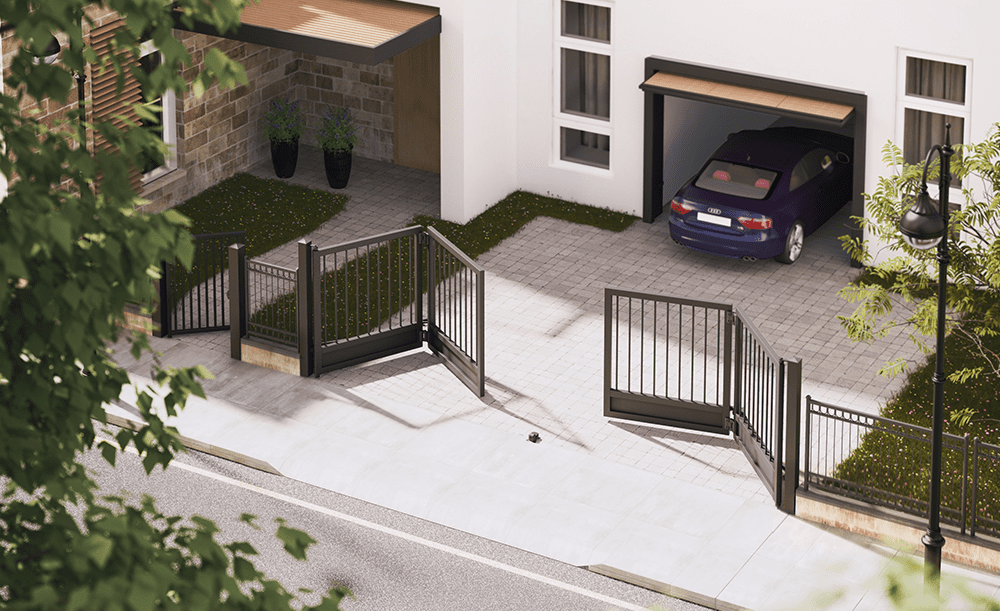 Example of bifold gate residential installation
