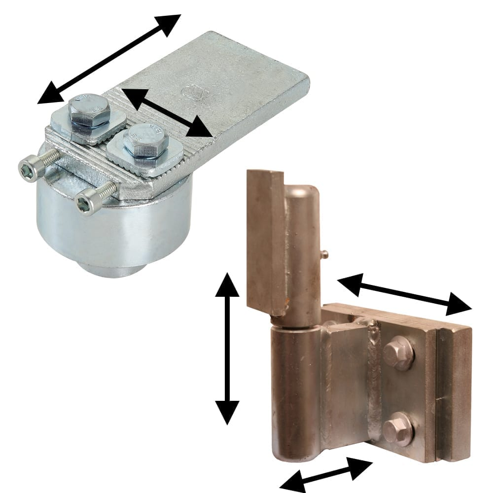 Adjustable hinges from 1 to 3 dimensions