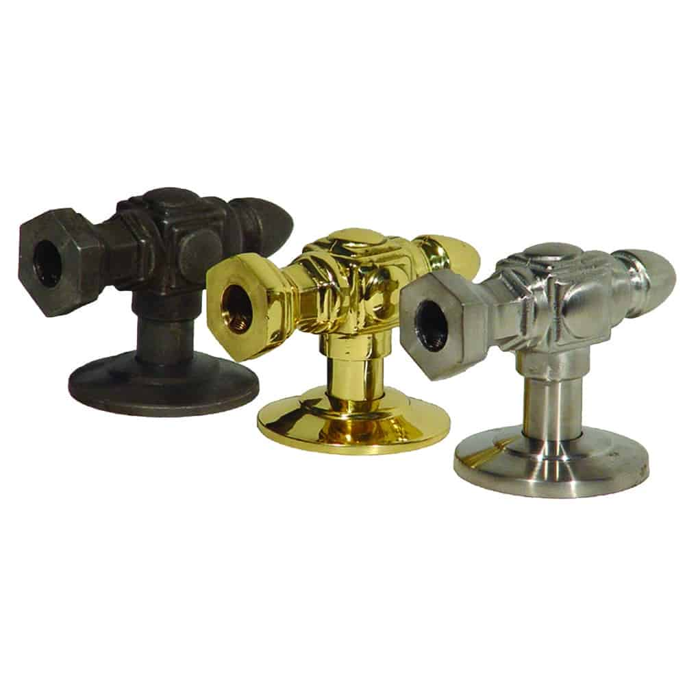 Side-mount bracket for attaching pickets and spindles to the side of a staircase. Available in malleable iron, brass, and stainless steel