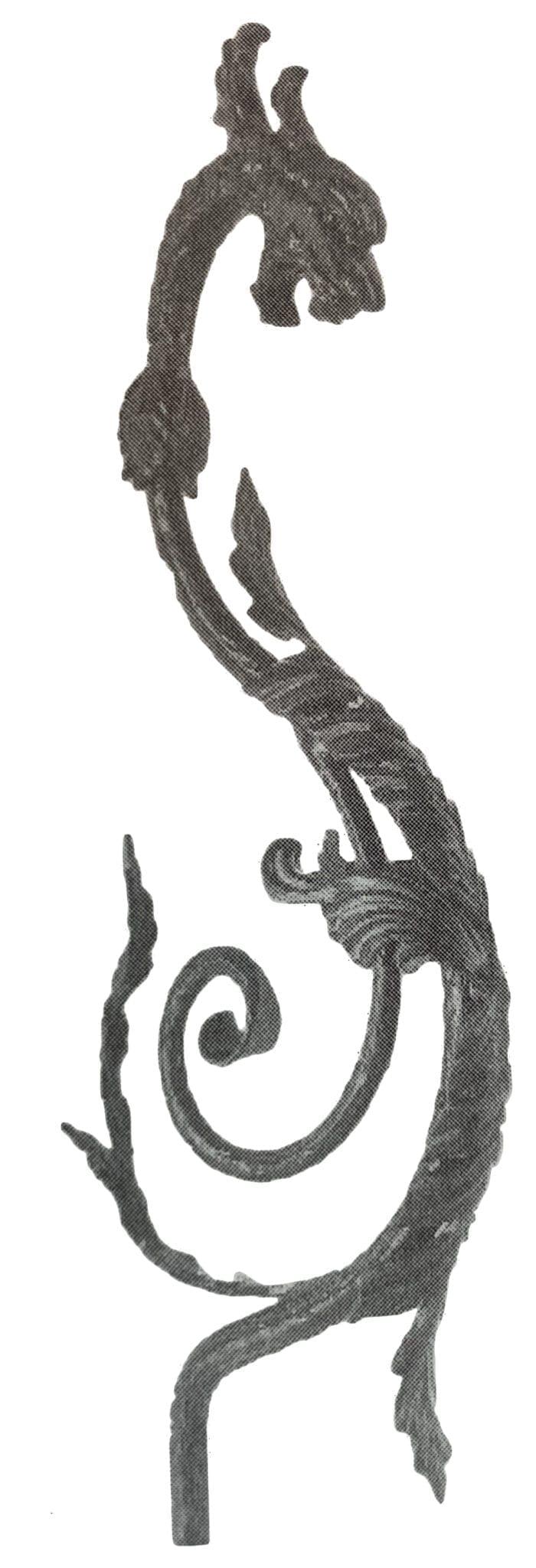 Ornamental steel forged dragon handrail starter
