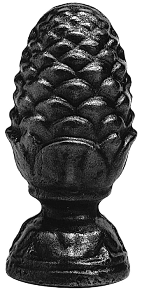 Ornamental steel finial with round base, pine cone design