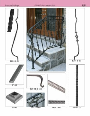 Residential wrought iron railing with belly bars