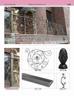 Exterior wrought iron level railing with hand-forged steel panels
