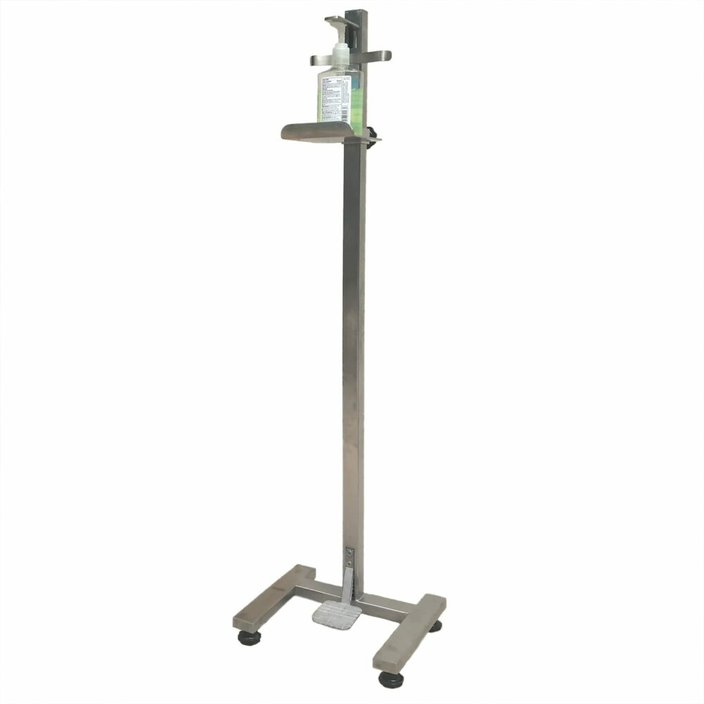 Hands-free, foot-operated hand sanitizer dispenser stand, stainless steel