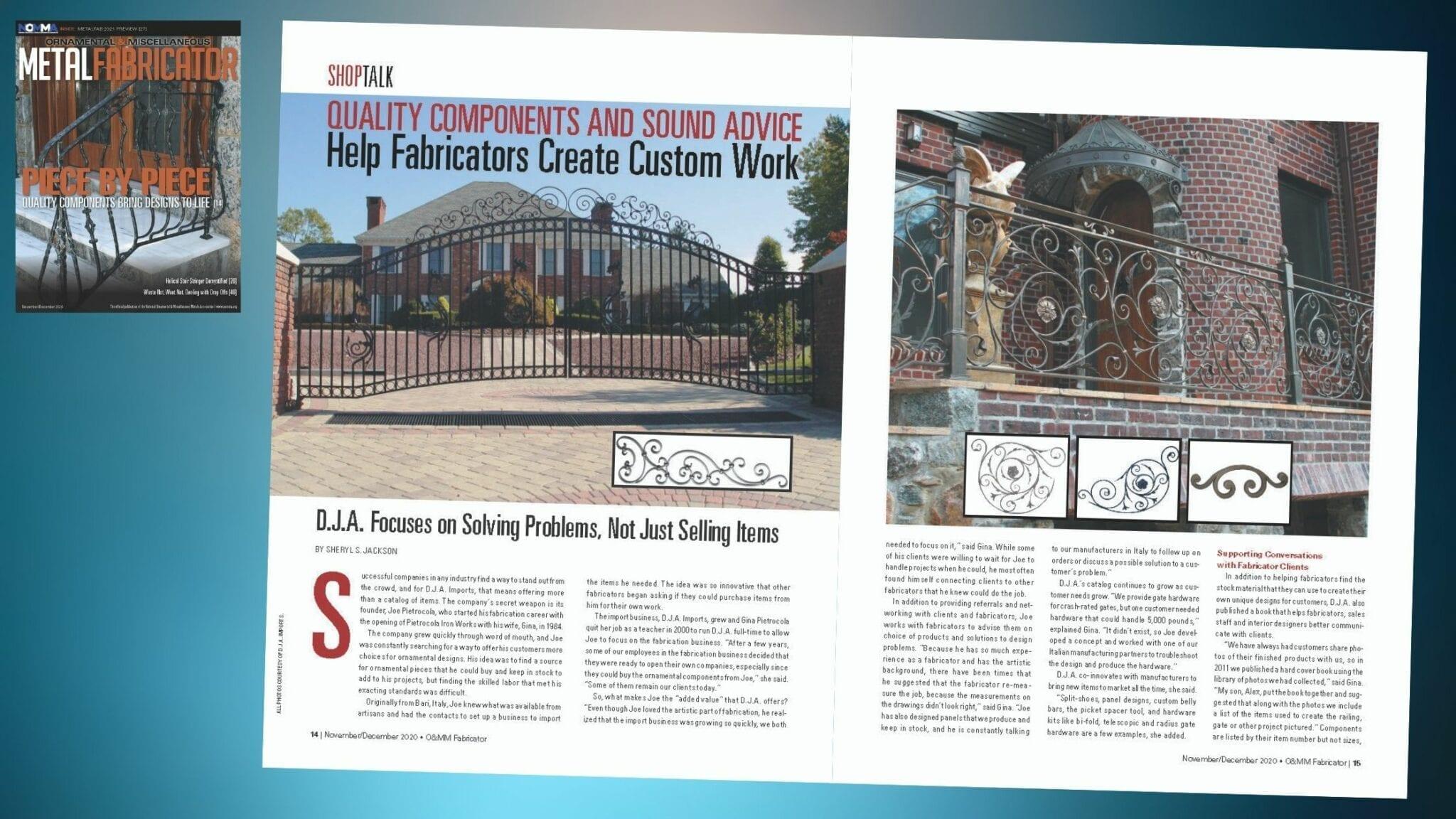 Cover story of NOMMA Fabricator magazine, November 2020