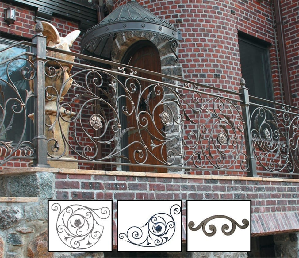 Ornamental outdoor railing featuring forged panels and custom posts