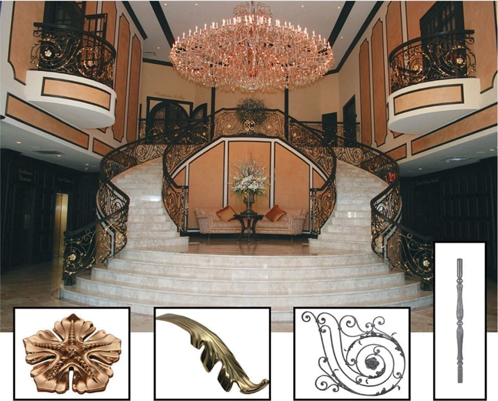 This catering hall project included pre-assembled panels for straight and stair applications, Italian-handcrafted solid posts, brass leaves, and rosettes in a variety of sizes. It also implemented solid steel rings, and additional solid scrolls used to fill in the gaps to meet codes.