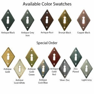 Color and finish options for various hand forged steel door handles and door pulls