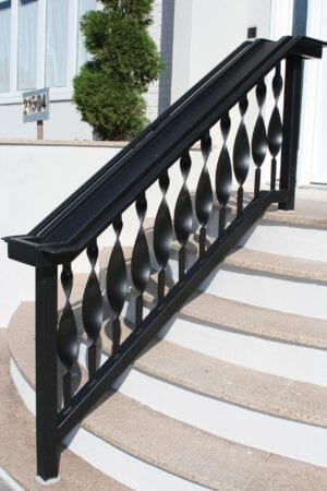 Exterior railing with wrought iron modern picket with oversized twist feature - P542