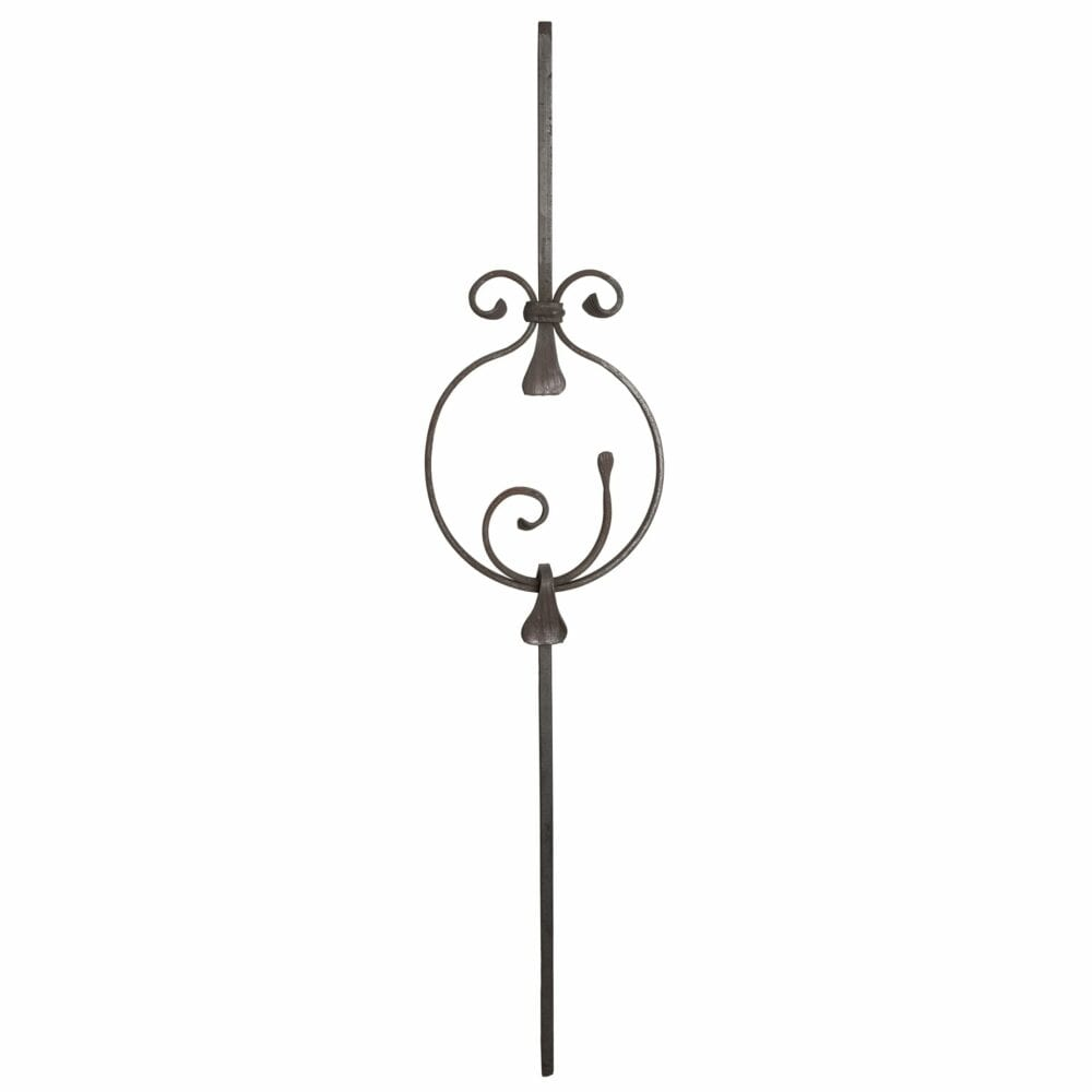 Wrought iron baluster, forged with several scrolls - 505-215