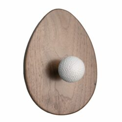 Golf Collection: Oak Wood Egg Shaped Plaque with Malleable Iron, Powder Coated White Finial