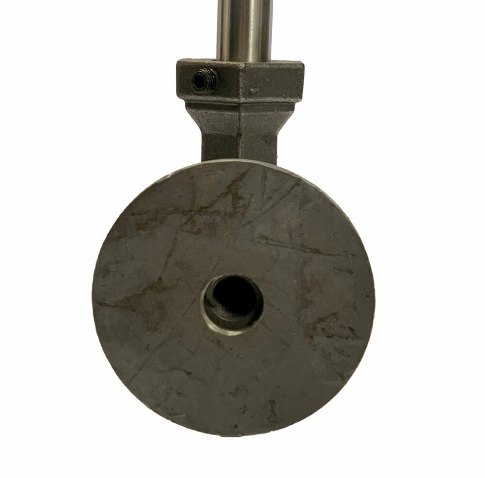 Rear view of side-mount bracket for attaching pickets and spindles to the side of a staircase. Available in malleable iron, brass, and stainless steel. Malleable iron shown.
