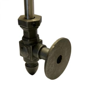 Angled rear view of side-mount bracket for attaching pickets and spindles to the side of a staircase. Available in malleable iron, brass, and stainless steel. Malleable iron shown.