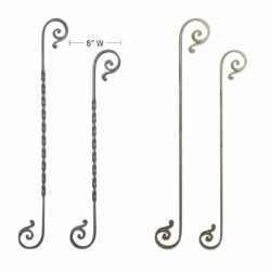 Composite arrangement of wrought iron hand forged S scroll pickets with and without twist