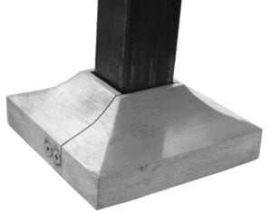 Two piece split shoe for covering railing post base plate, square. Shown with post.