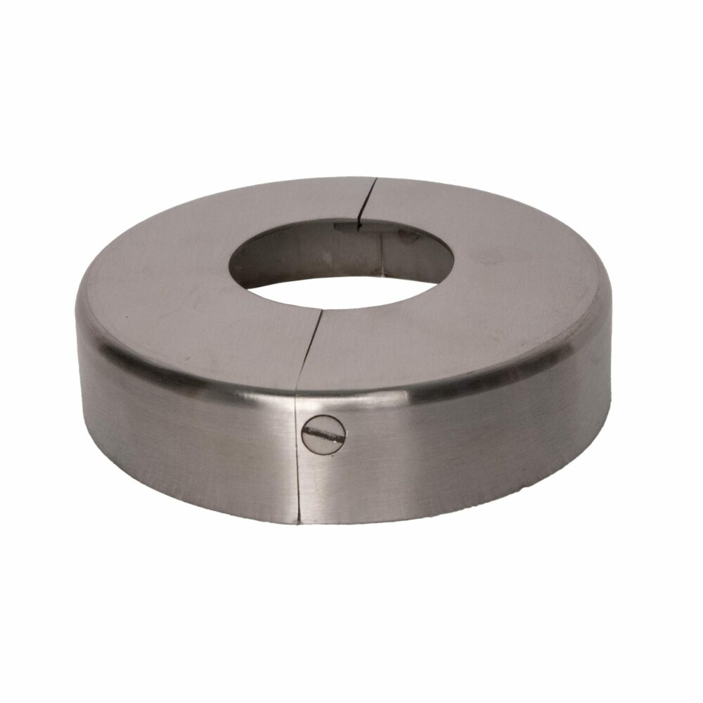 """Stainless steel two piece cover flange for 1.66"""" diameter, fully closed position and finished"""