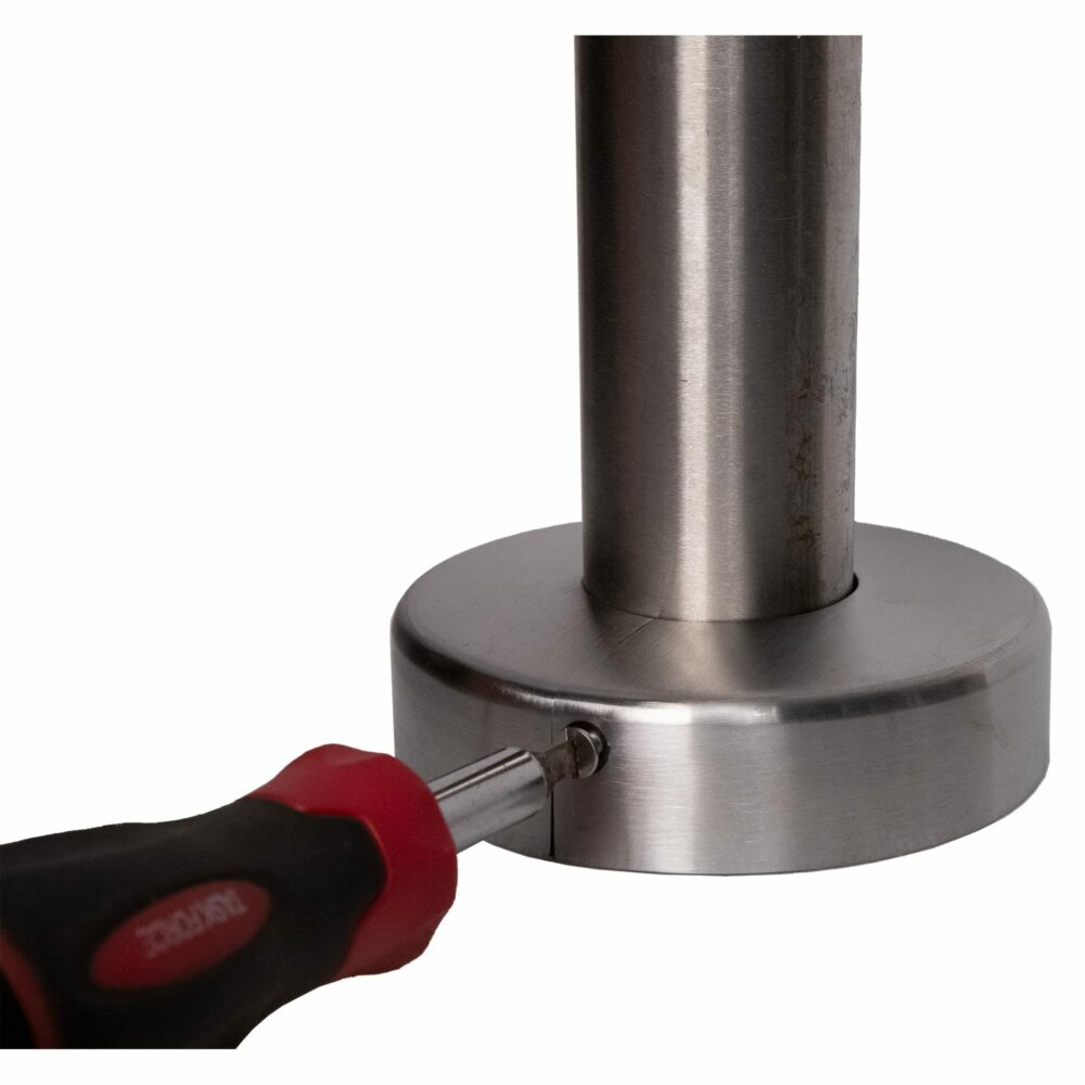 """Stainless steel two piece cover flange for 1.66"""" diameter, shown in closed position with screwdriver on set screw"""