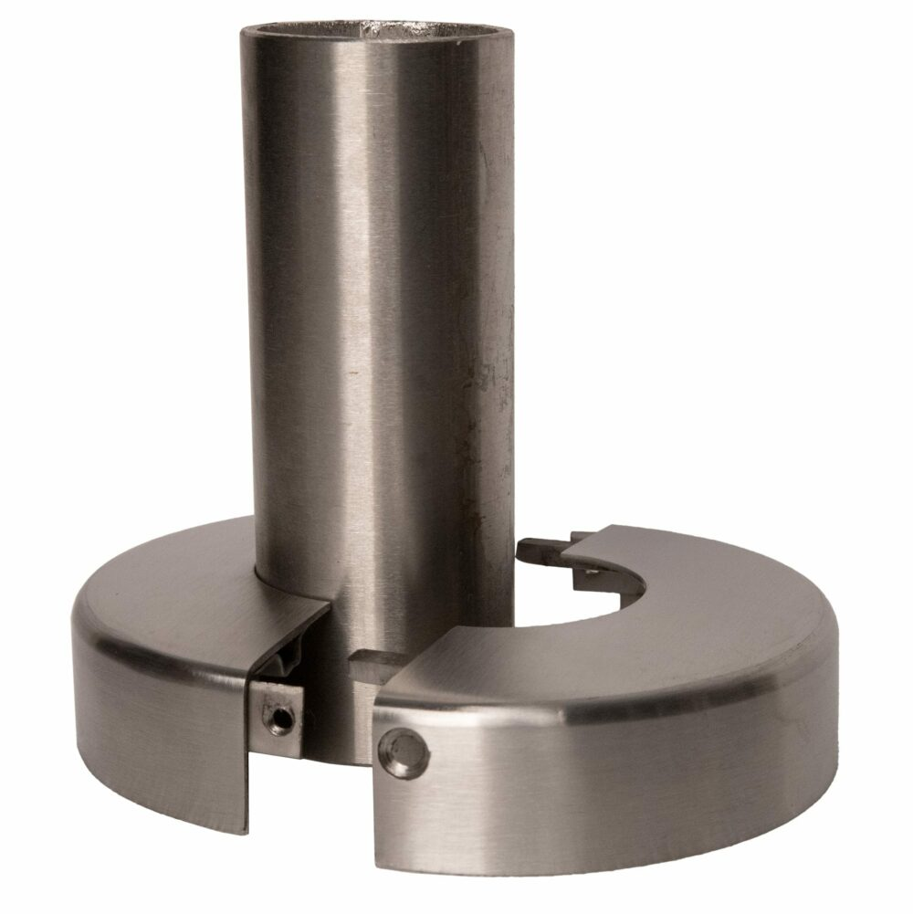 """Stainless steel two piece cover flange for 1.66"""" diameter, open position around a post"""