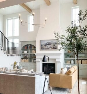 Side mount baluster bracket with modern stairs and decor in living room