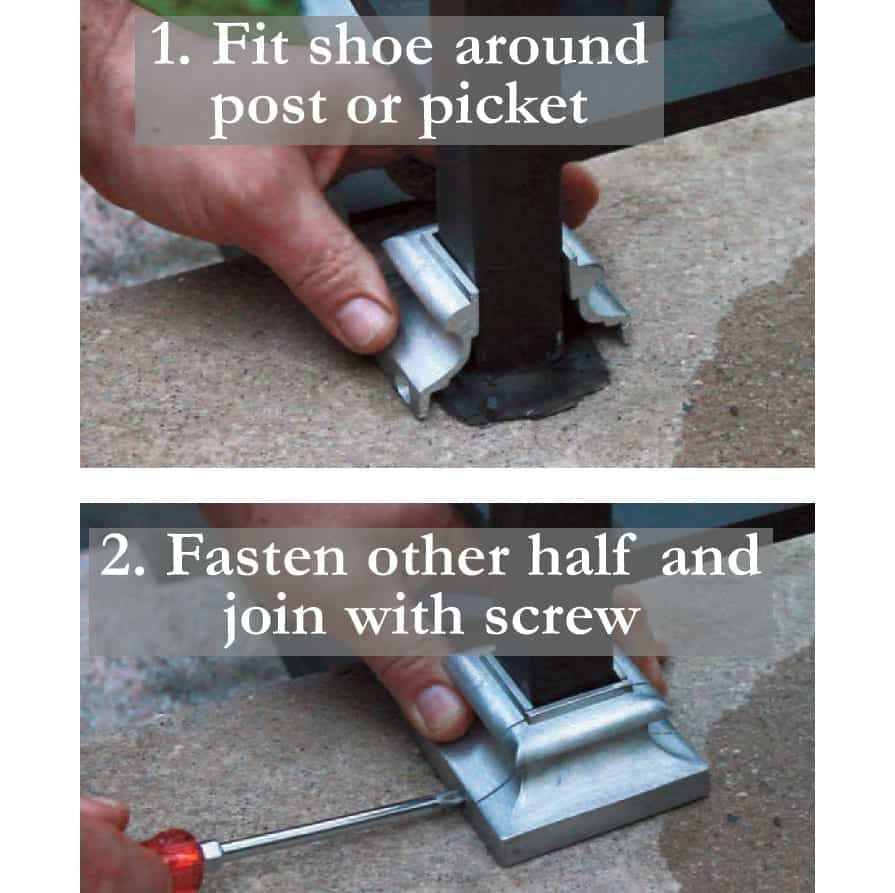 Two step process for installing split shoe on a square post to cover up caulk