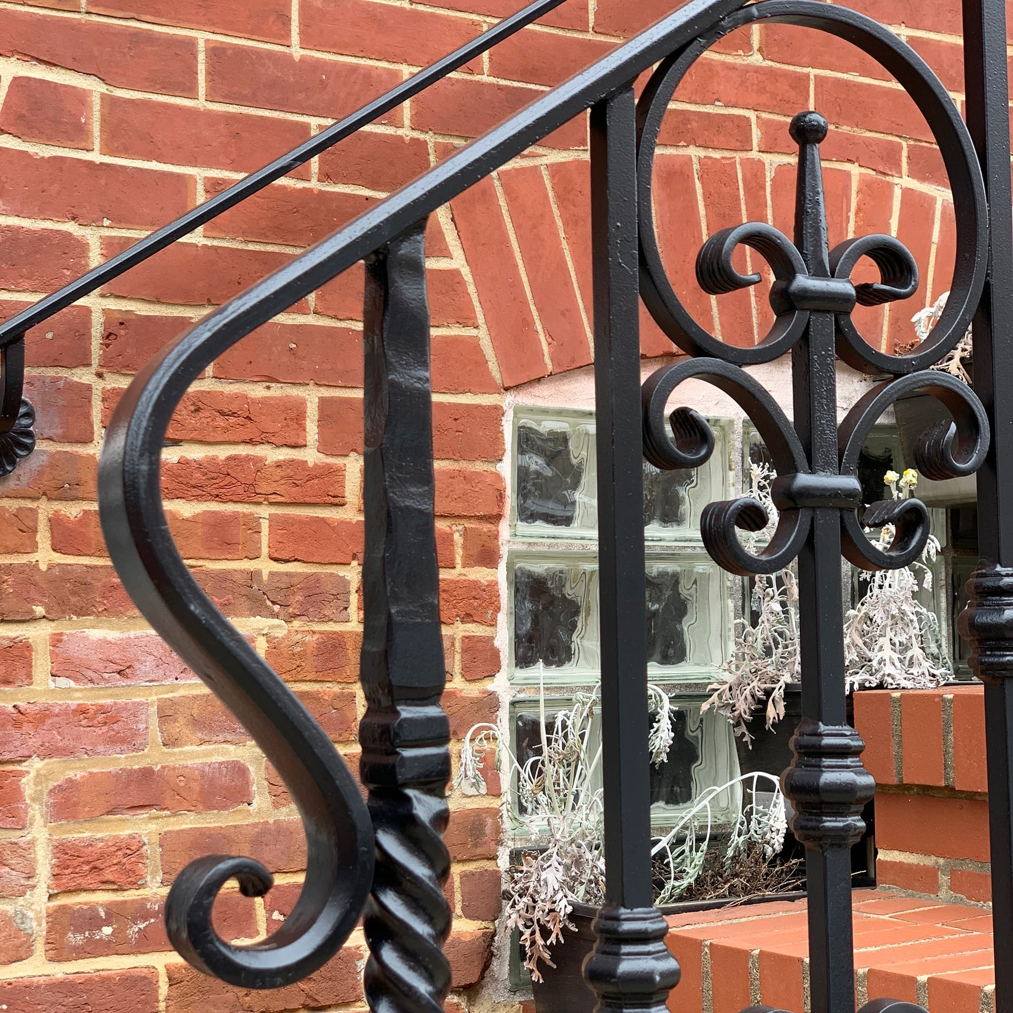 Example of hot dipped galvanized and powder coated exterior wrought iron railing