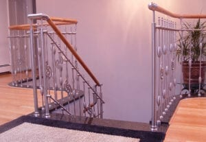 Stainless steel railing with wood handrail, on granite, no-weld mechanical-system
