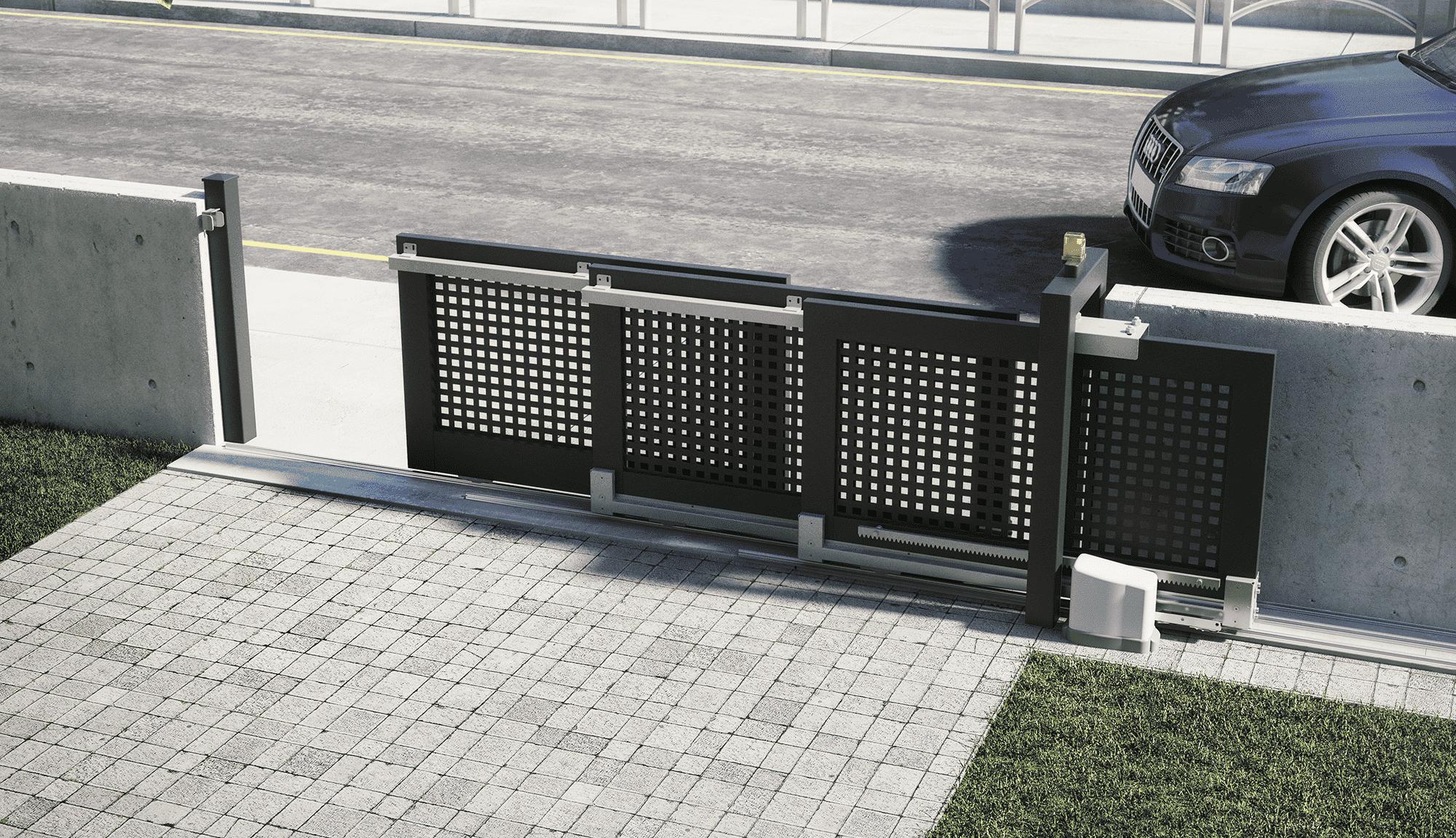 Telescopic Three-Leaf Gate Installation