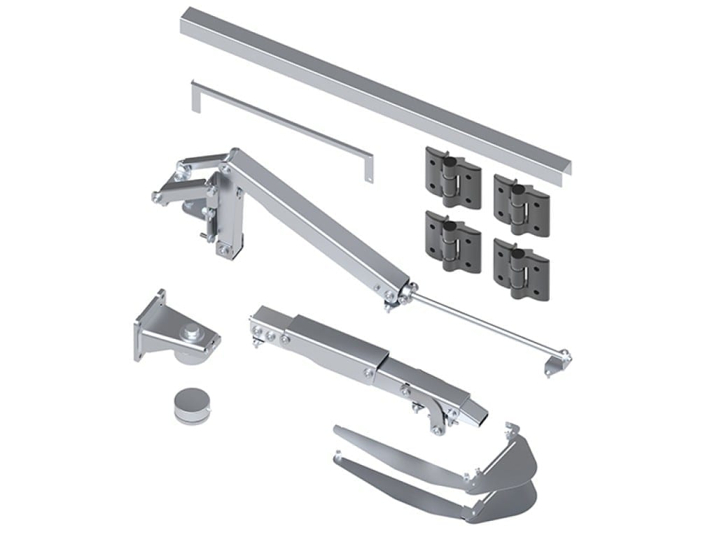 Components included in BiFold HD Gate Hardware Kit