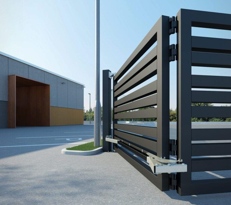 Heavy duty bifold gate in an outdoor industrial setting